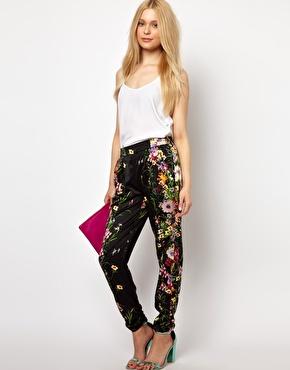 River Island Drape Trouser In Floral Print