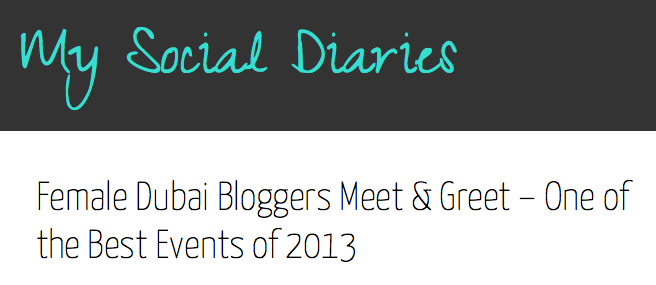 Featured in: My Social Diaries- January 2014