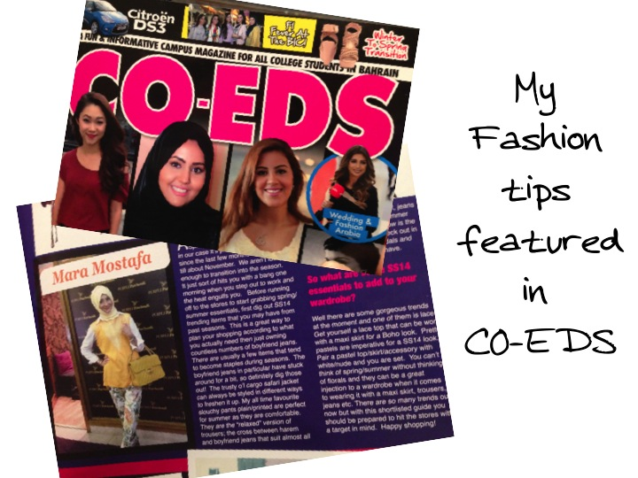 My Fashion tips featured in CO-EDS Magazine, Bahrain